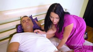 Image Playful brunette filthy mind  beauty decided to test her uncle's big cock